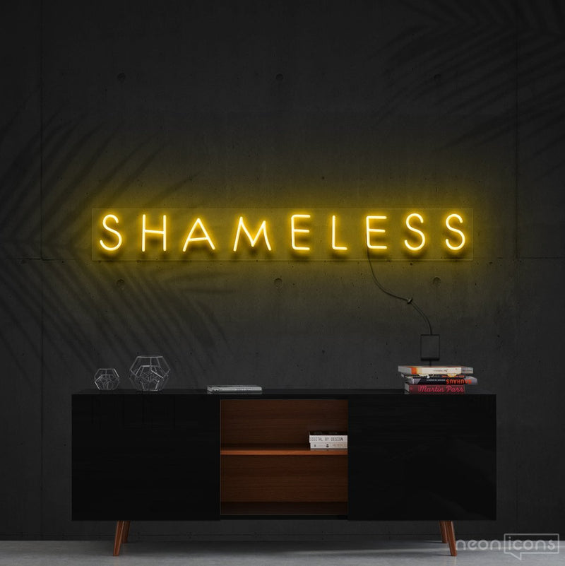 """Shameless"" Neon Sign 60cm (2ft) / Yellow / Cut to Shape by Neon Icons"