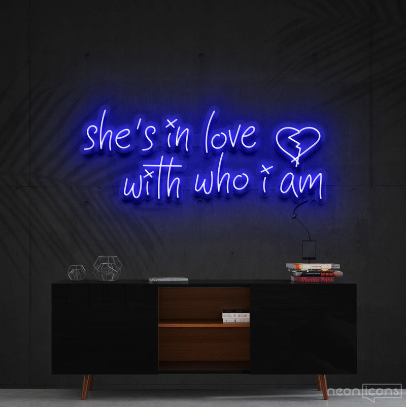 """She's In Love With Who I Am"" Neon Sign 90cm (3ft) / Blue / Cut to Shape by Neon Icons"
