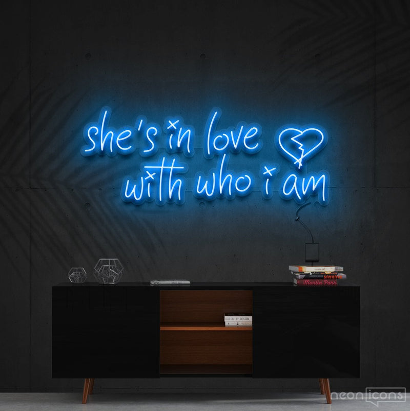 """She's In Love With Who I Am"" Neon Sign 90cm (3ft) / Ice Blue / Cut to Shape by Neon Icons"