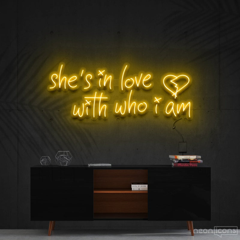 """She's In Love With Who I Am"" Neon Sign 90cm (3ft) / Yellow / Cut to Shape by Neon Icons"