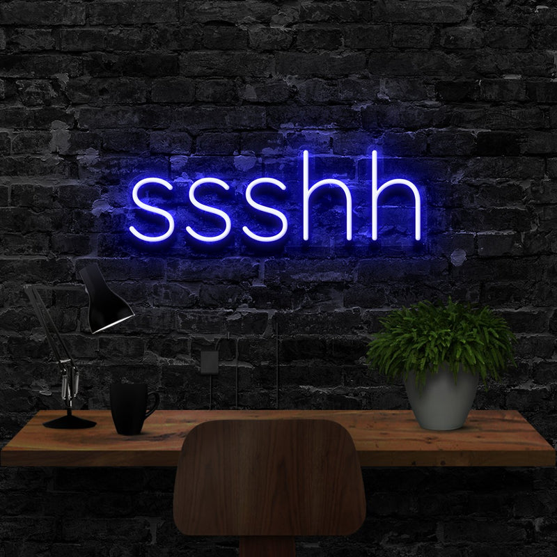 """Shush"" Neon Sign 40cm (1.3ft) / Blue / LED Neon by Neon Icons"