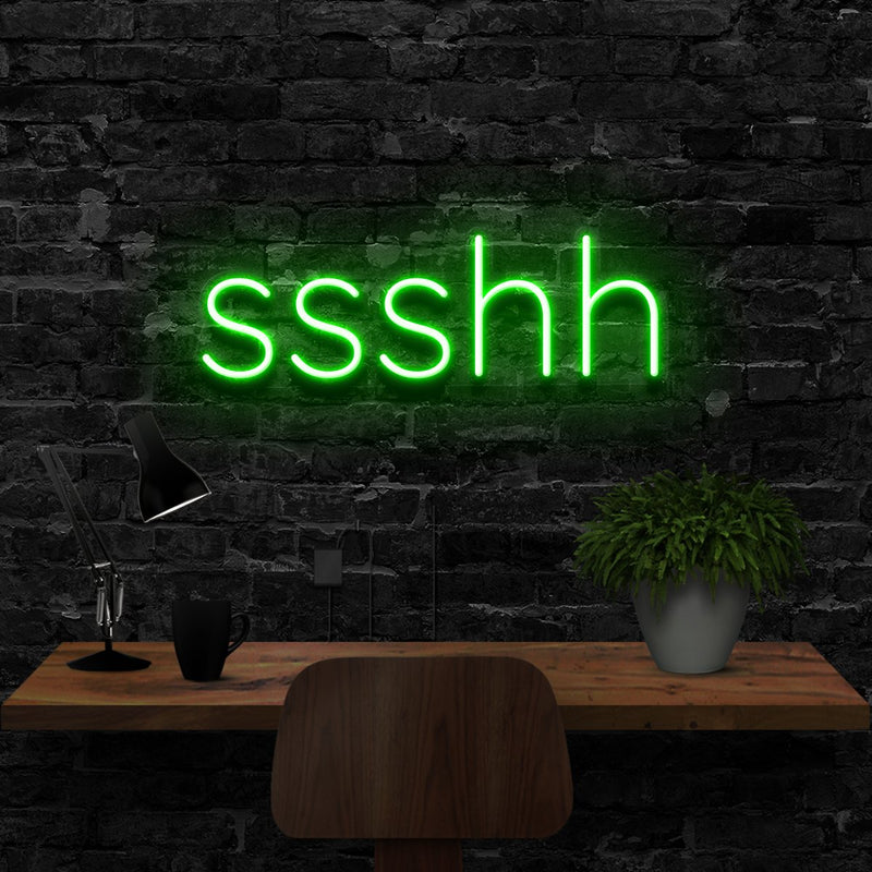 """Shush"" Neon Sign 40cm (1.3ft) / Green / LED Neon by Neon Icons"
