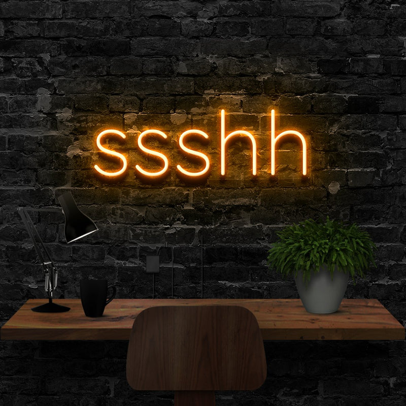 """Shush"" Neon Sign 40cm (1.3ft) / Orange / LED Neon by Neon Icons"