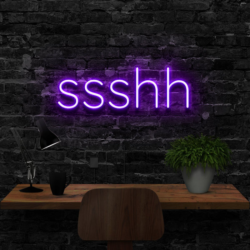 """Shush"" Neon Sign 40cm (1.3ft) / Purple / LED Neon by Neon Icons"