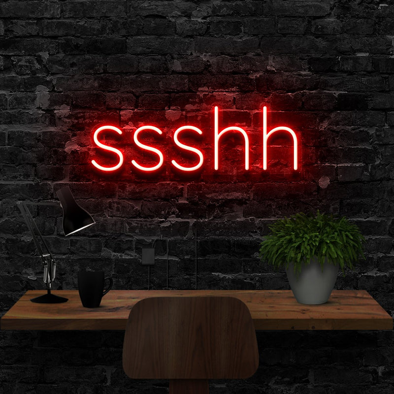 """Shush"" Neon Sign 40cm (1.3ft) / Red / LED Neon by Neon Icons"