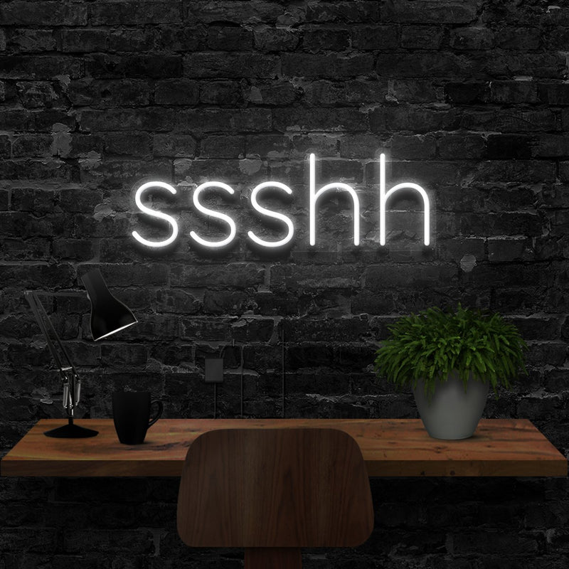 """Shush"" Neon Sign 40cm (1.3ft) / White / LED Neon by Neon Icons"