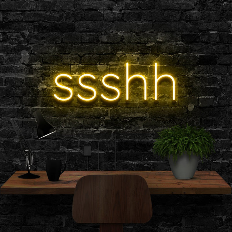 """Shush"" Neon Sign 40cm (1.3ft) / Yellow / LED Neon by Neon Icons"