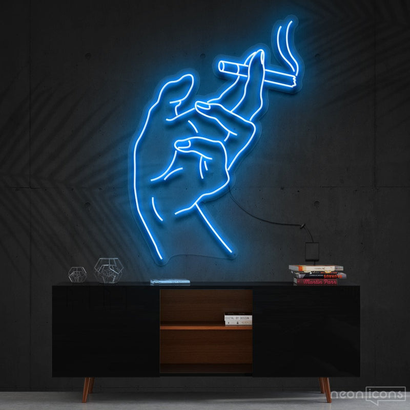 """Smoker's Hand"" Neon Sign 60cm (2ft) / Ice Blue / Cut to Shape by Neon Icons"