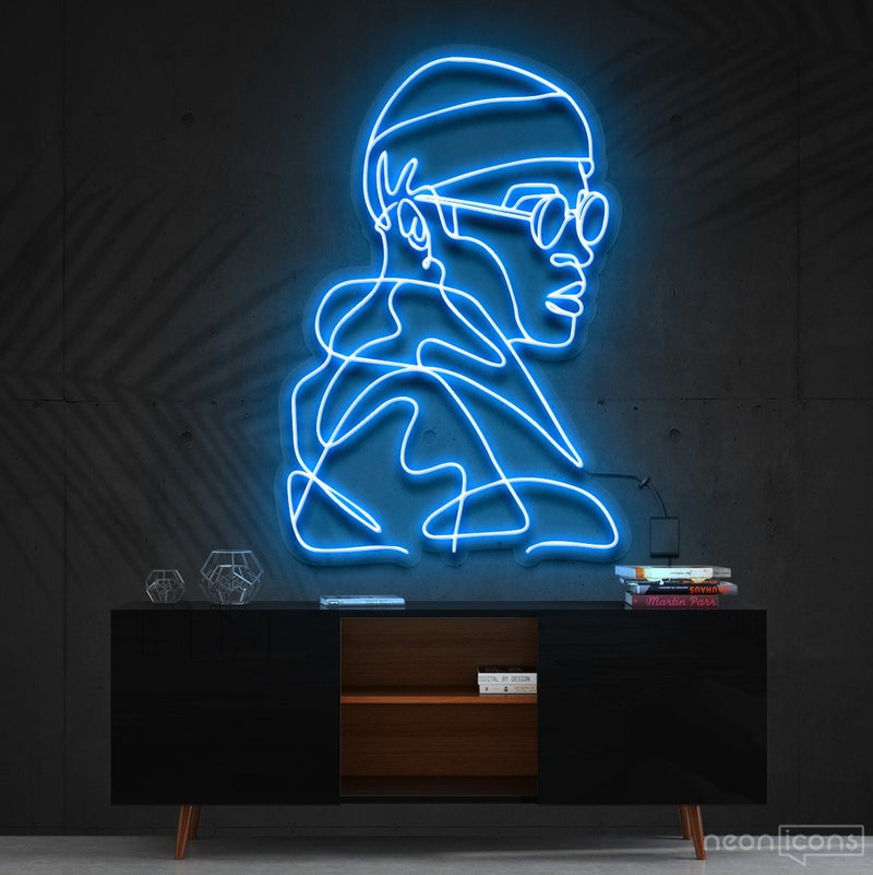 """Street Cred"" Neon Sign 60cm (2ft) / Ice Blue / Cut to Square by Neon Icons"