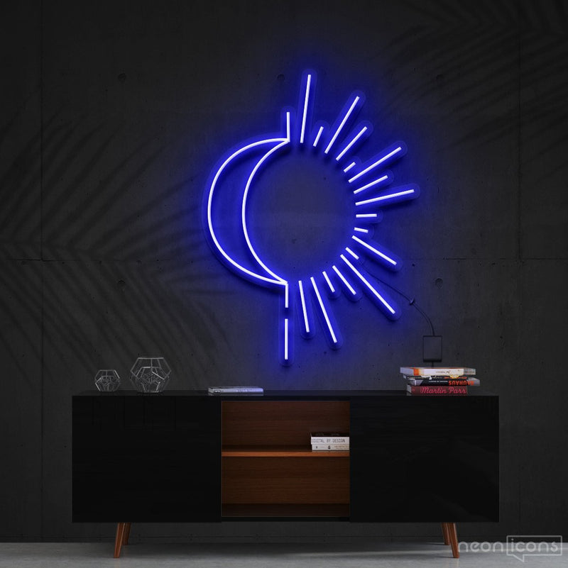 """Sunshine & Moonshine"" Neon Sign 60cm (2ft) / Blue / Cut to Shape by Neon Icons"