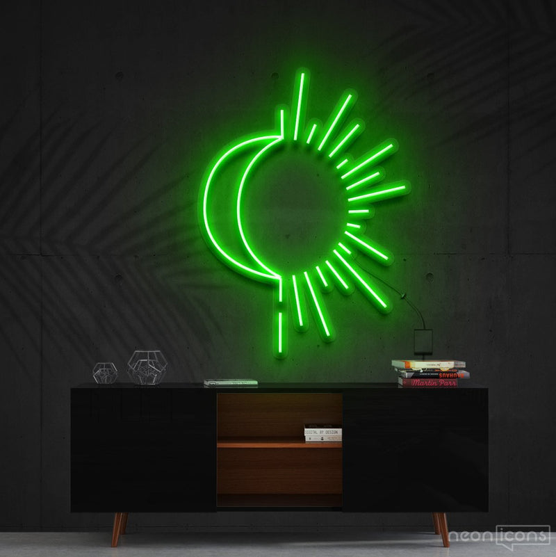 """Sunshine & Moonshine"" Neon Sign 60cm (2ft) / Green / Cut to Shape by Neon Icons"