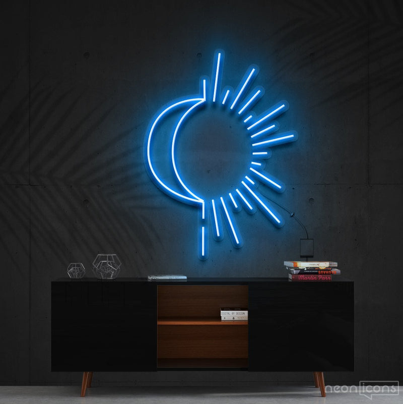 """Sunshine & Moonshine"" Neon Sign 60cm (2ft) / Ice Blue / Cut to Shape by Neon Icons"