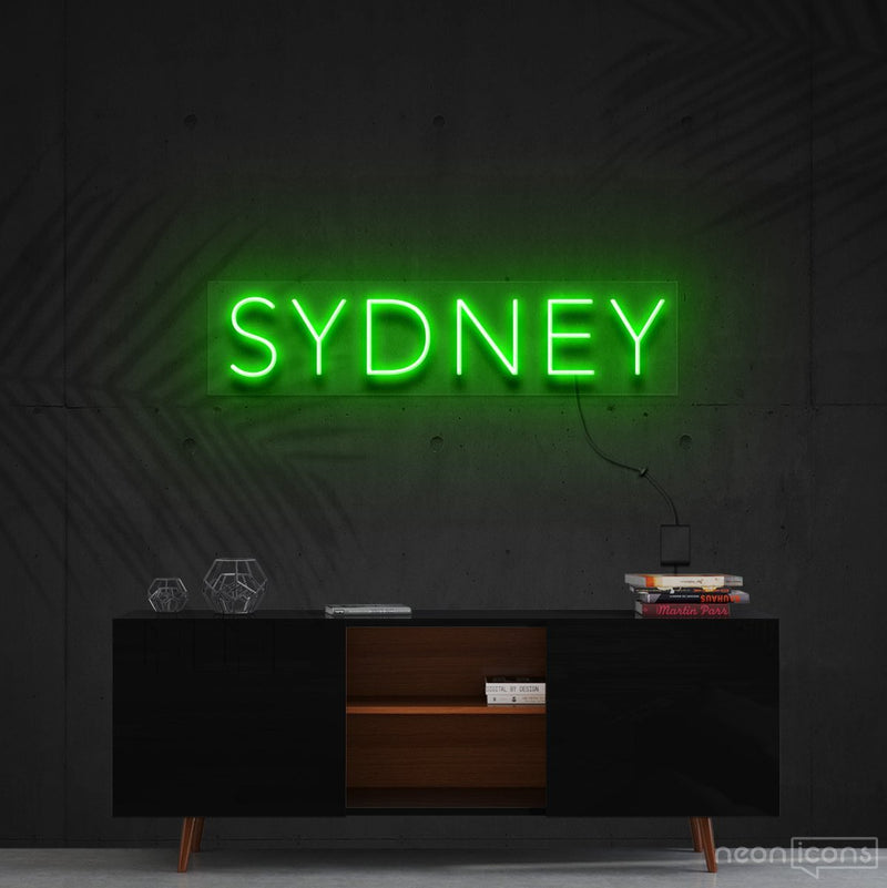 """Sydney"" Neon Sign 60cm (2ft) / Green / Cut to Shape by Neon Icons"