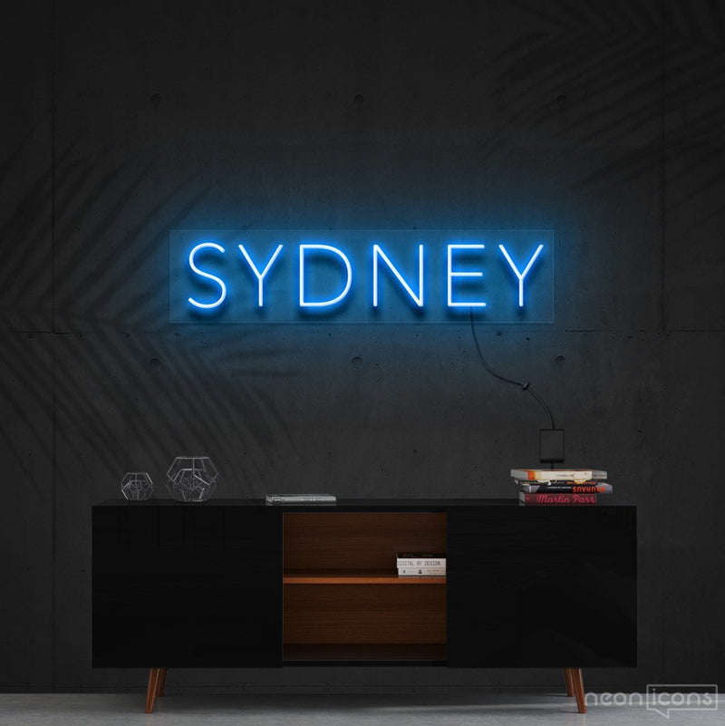 """Sydney"" Neon Sign 60cm (2ft) / Ice Blue / Cut to Shape by Neon Icons"