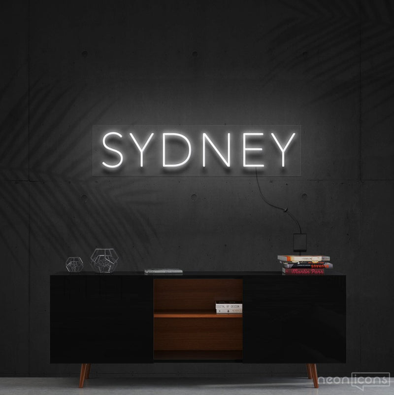 """Sydney"" Neon Sign 60cm (2ft) / White / Cut to Shape by Neon Icons"