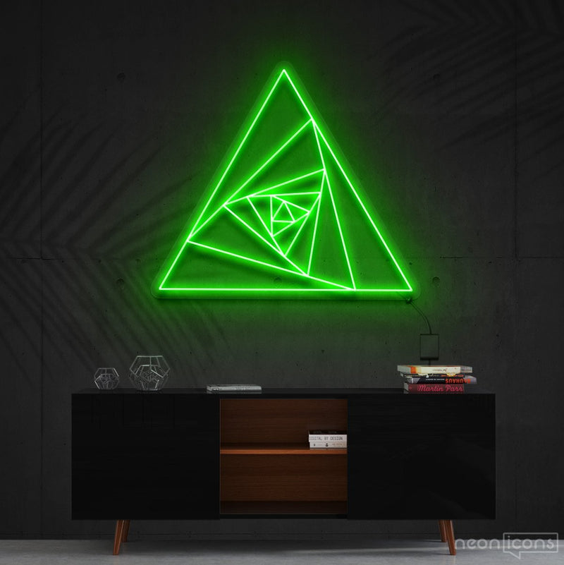 """Triangle Shutter"" Neon Sign 60cm (2ft) / Green / Cut to Shape by Neon Icons"