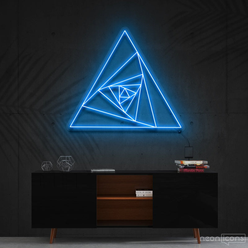 """Triangle Shutter"" Neon Sign 60cm (2ft) / Ice Blue / Cut to Shape by Neon Icons"