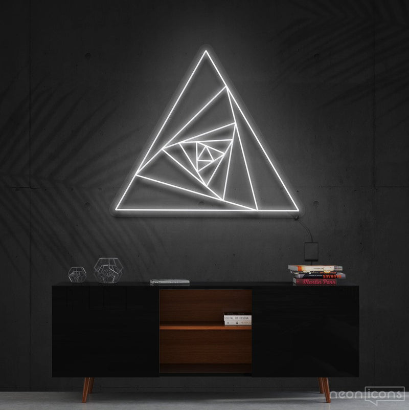 """Triangle Shutter"" Neon Sign 60cm (2ft) / White / Cut to Shape by Neon Icons"