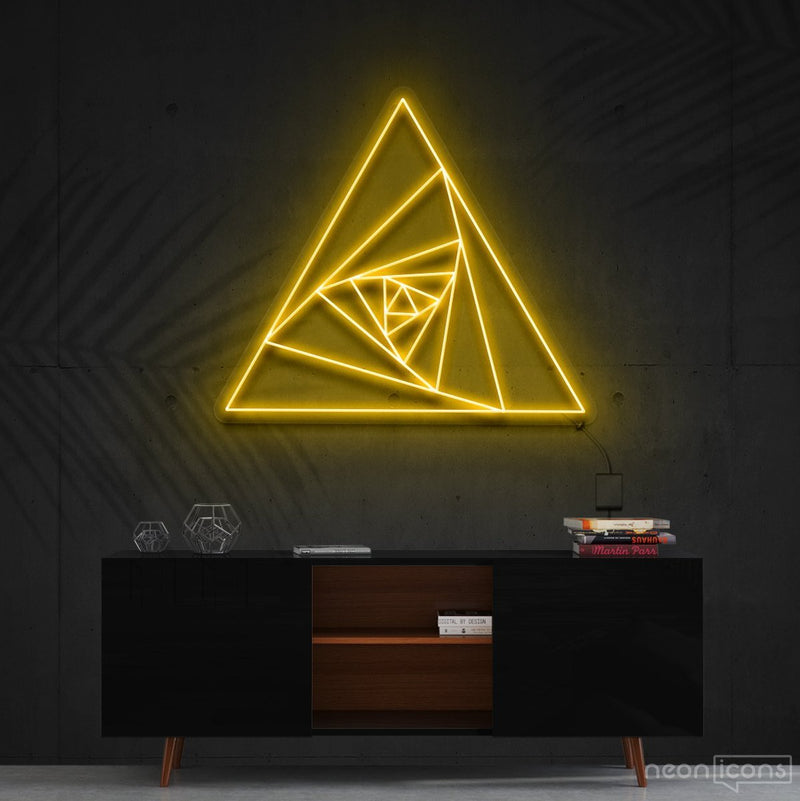 """Triangle Shutter"" Neon Sign 60cm (2ft) / Yellow / Cut to Shape by Neon Icons"