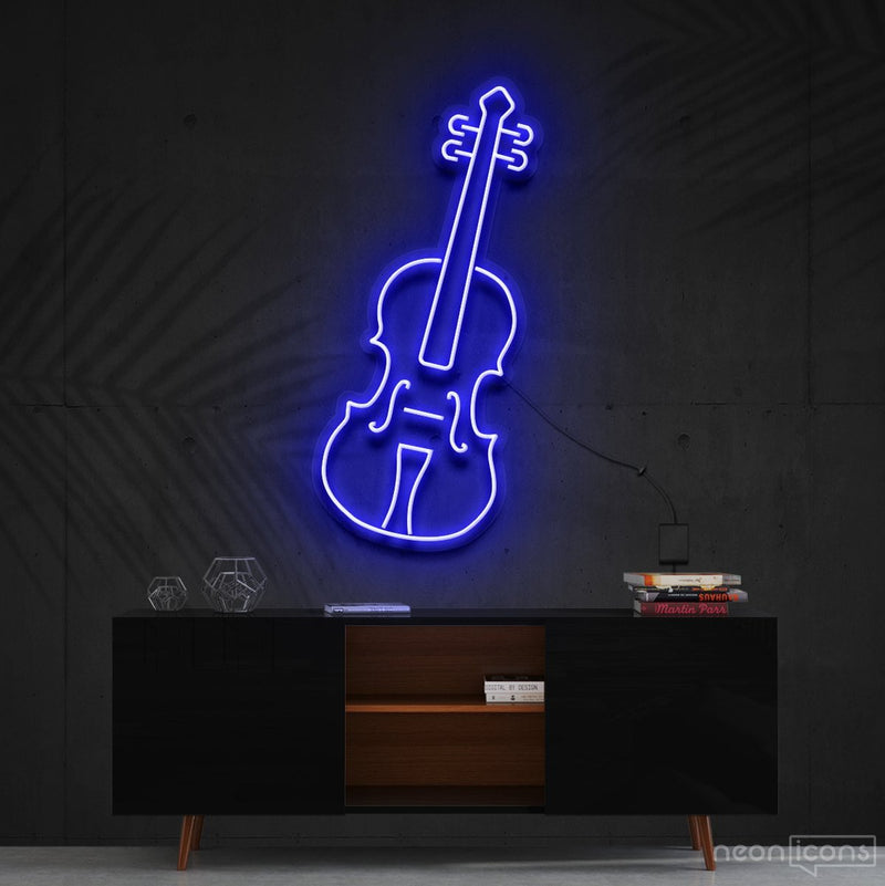 """Violin"" Neon Sign 60cm (2ft) / Blue / Cut to Shape by Neon Icons"