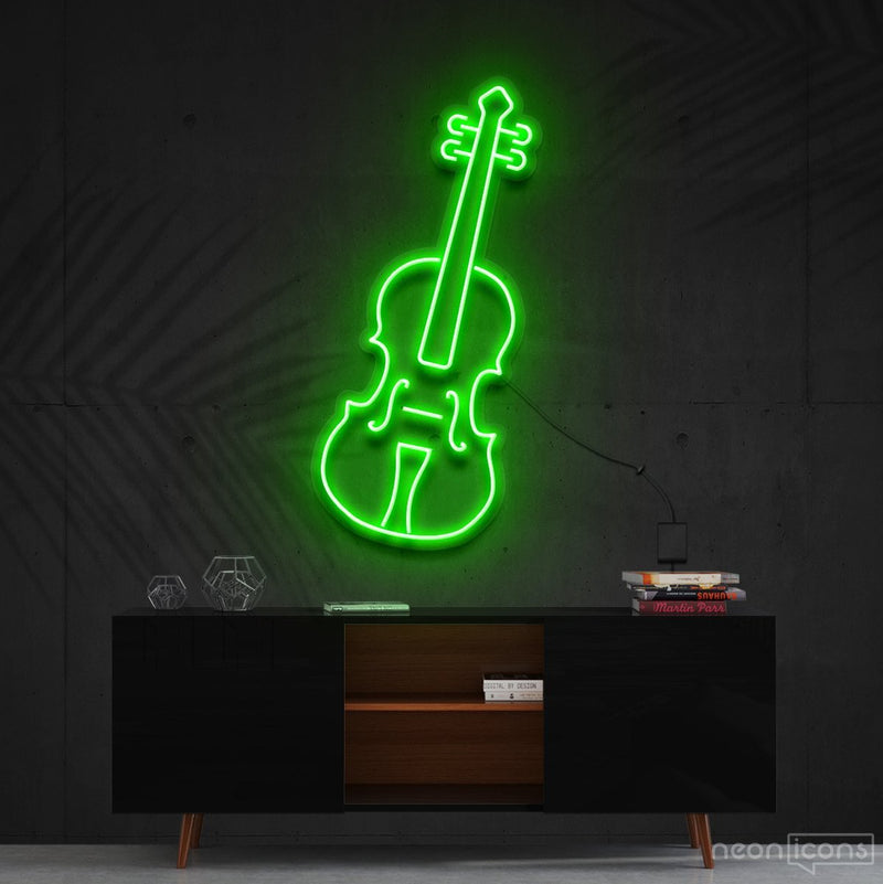 """Violin"" Neon Sign 60cm (2ft) / Green / Cut to Shape by Neon Icons"
