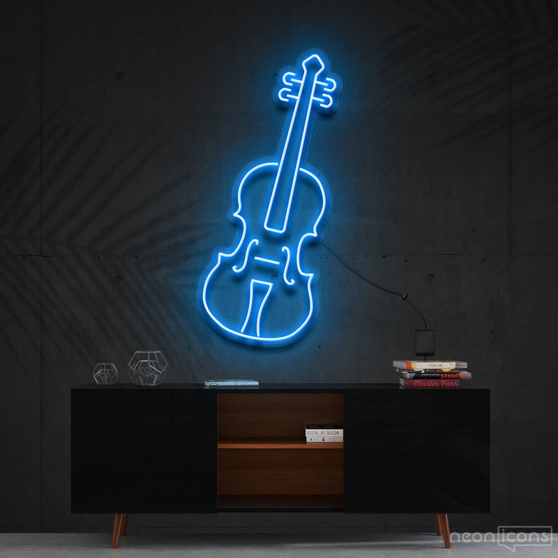 """Violin"" Neon Sign 60cm (2ft) / Ice Blue / Cut to Shape by Neon Icons"