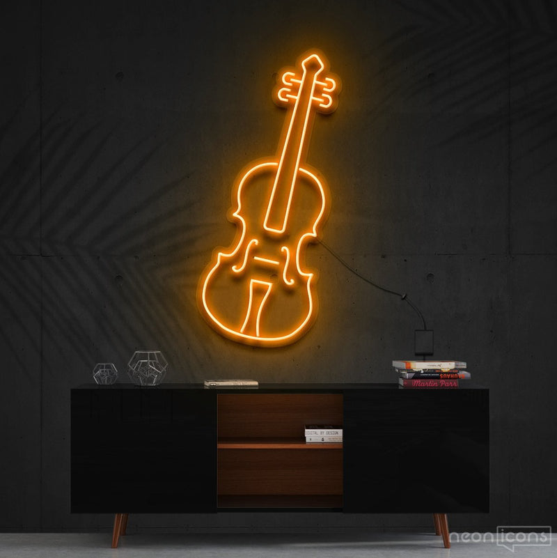 """Violin"" Neon Sign 60cm (2ft) / Orange / Cut to Shape by Neon Icons"