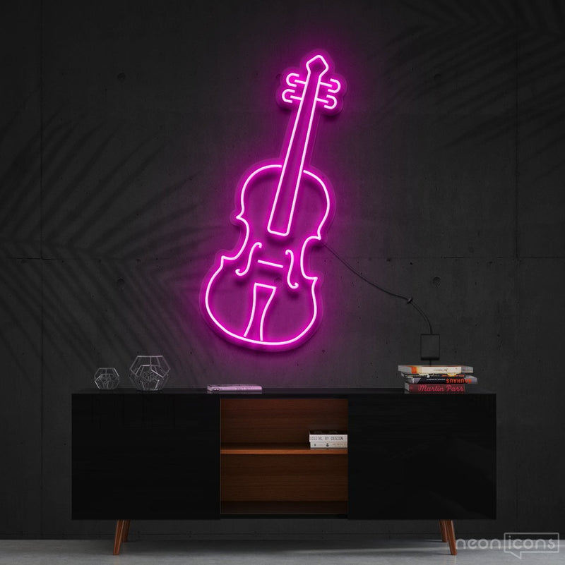 """Violin"" Neon Sign 60cm (2ft) / Pink / Cut to Shape by Neon Icons"