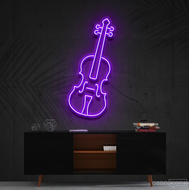 """Violin"" Neon Sign 60cm (2ft) / Purple / Cut to Shape by Neon Icons"