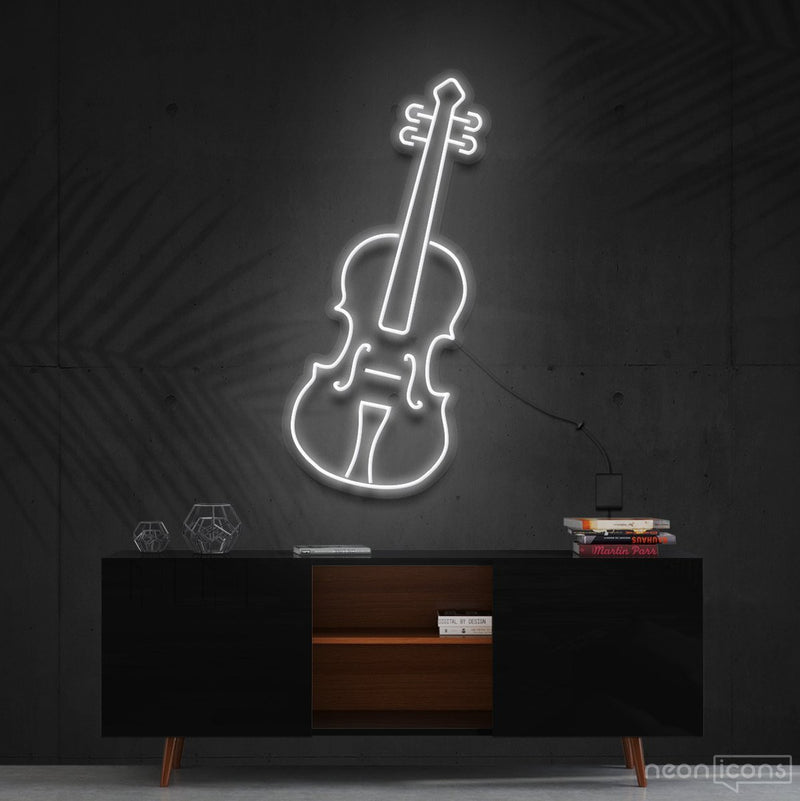"""Violin"" Neon Sign 60cm (2ft) / White / Cut to Shape by Neon Icons"