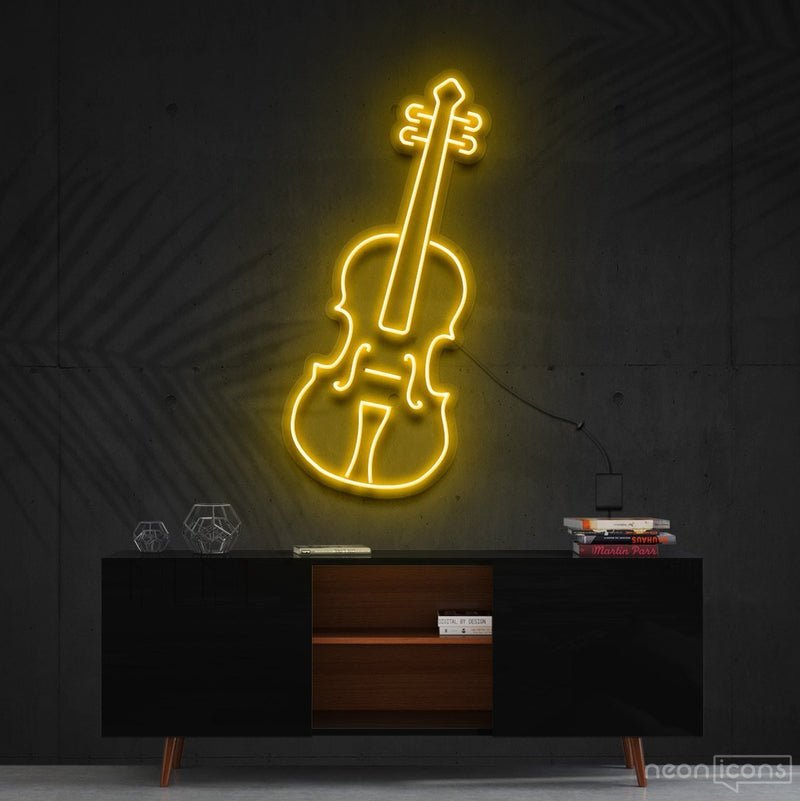 """Violin"" Neon Sign 60cm (2ft) / Yellow / Cut to Shape by Neon Icons"