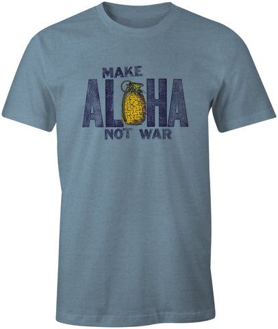MAKE ALOHA Unisex Blue Heather Tee