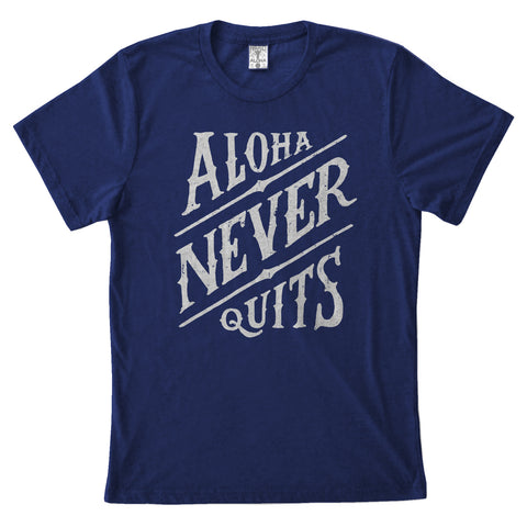 NEVER QUITS Unisex Navy Tee