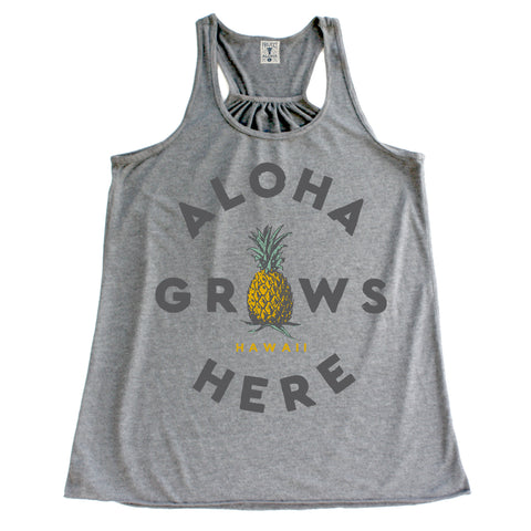 GROWS HERE Gray Tank