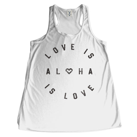 LOVE IS White Racerback Tank