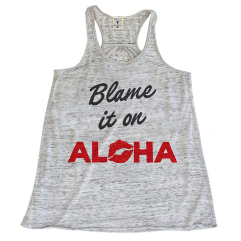 BLAME IT Marble White Racerback Tank