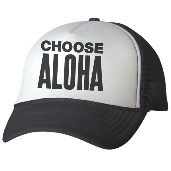CHOOSE ALOHA Black Adult Trucker