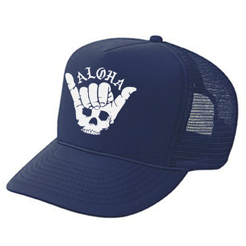 SHAKA SKULL Navy Adult Trucker
