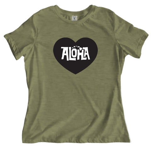 POHAKU HEART Olive Relaxed Tee