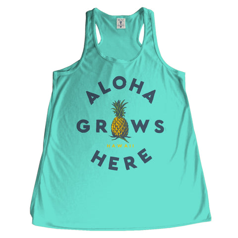 GROWS HERE Turq Kids Racerback Tank