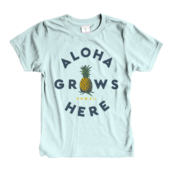 GROWS HERE Ice Blue Kids Tee