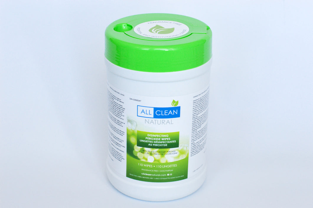 All Clean Natural Disinfecting Peroxide Wipes ( 6 canisters x 110 wipes per canister)