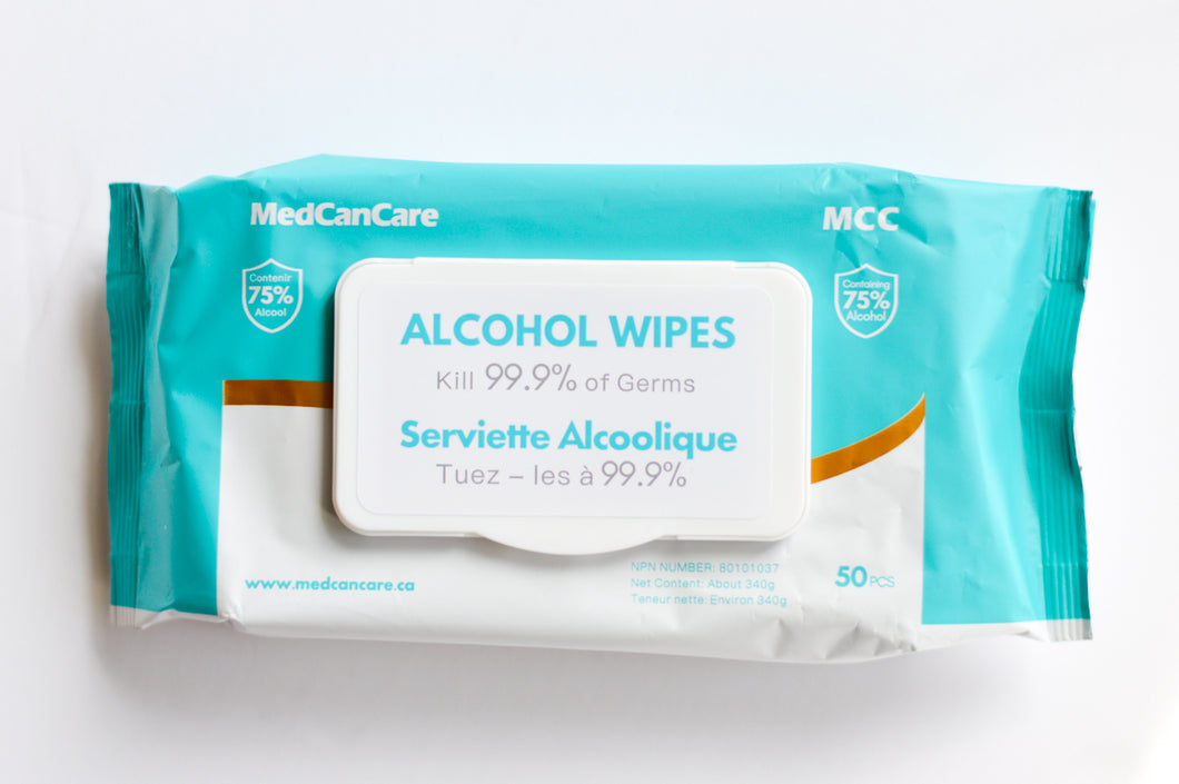 MedCanCare Alcohol Sanitizing Wipes 5 PACKS OF 50