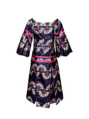 Floral Statement Sleeve Midi Dress - Wasulu London