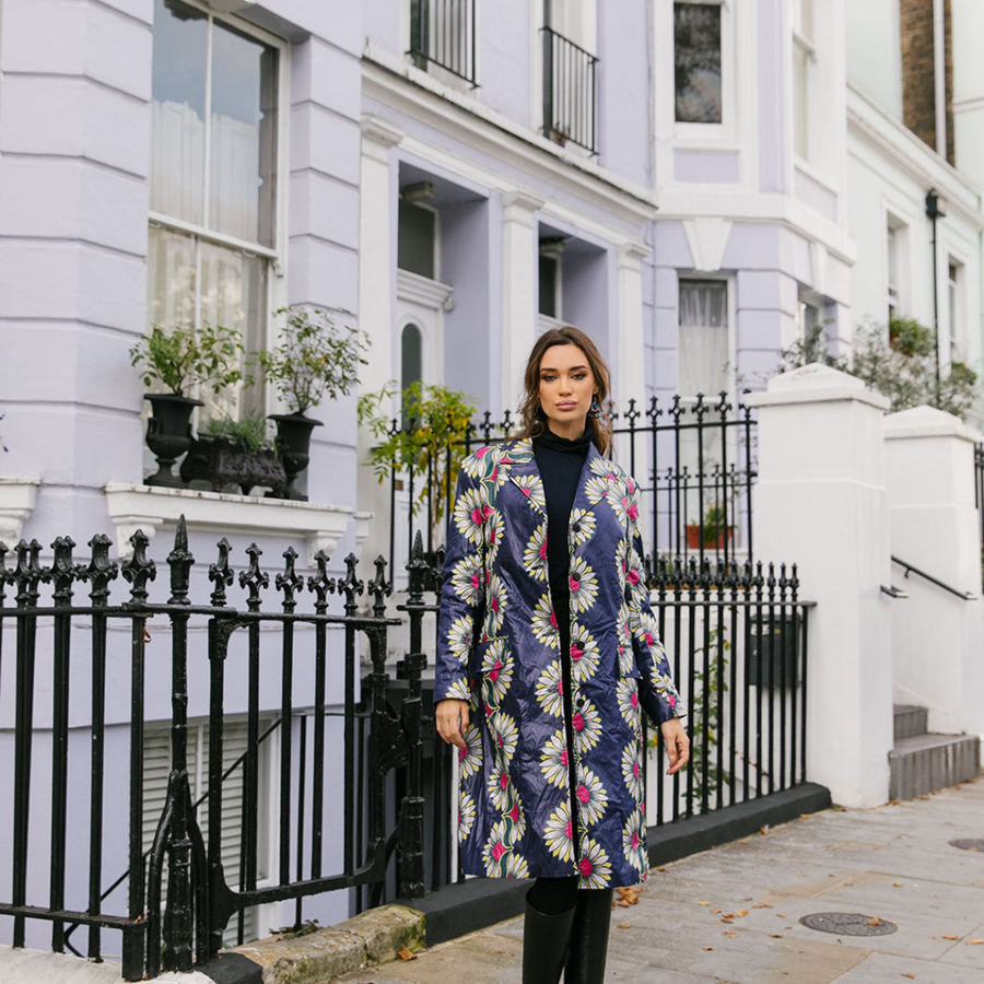 Floral Tailored Unisex Coat - Wasulu London