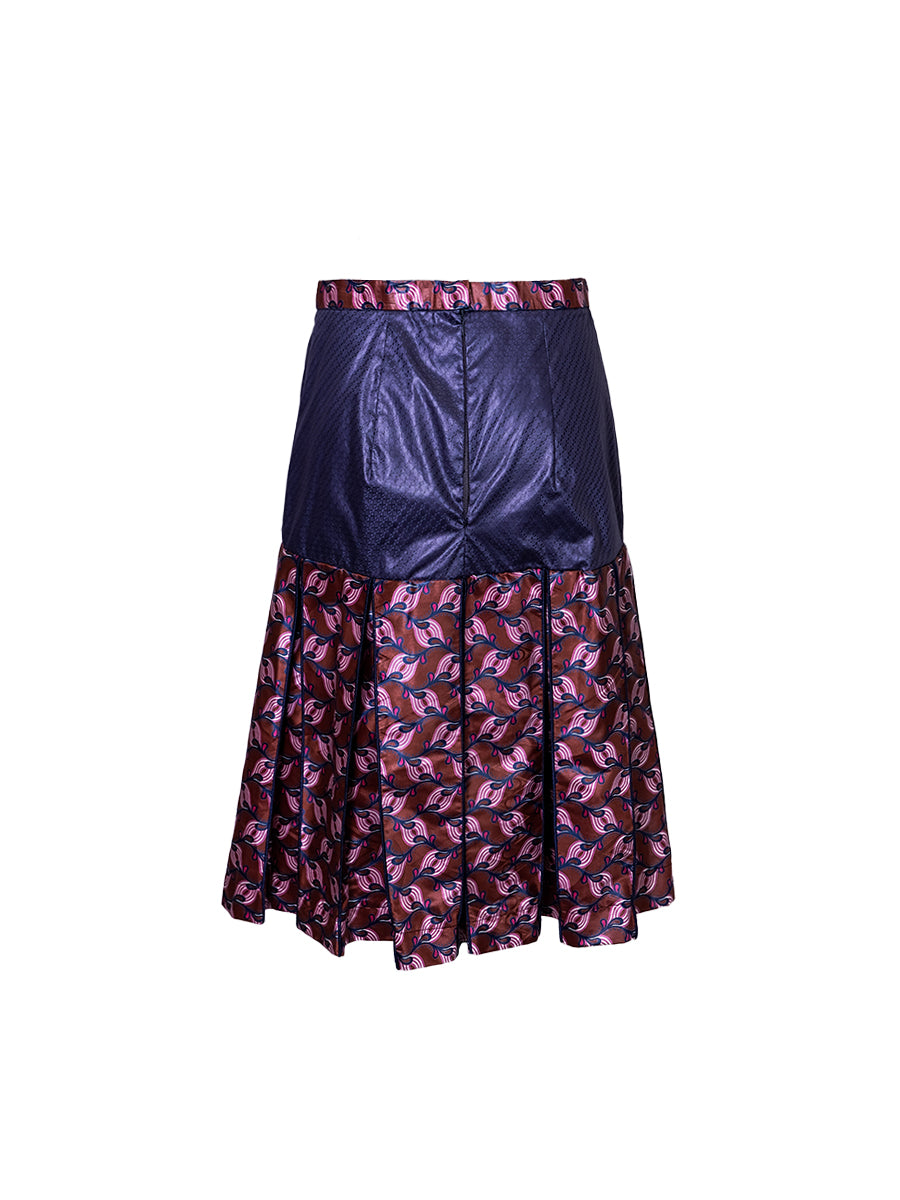 Two-tone Brocade Fringe Midi Skirt - Wasulu London