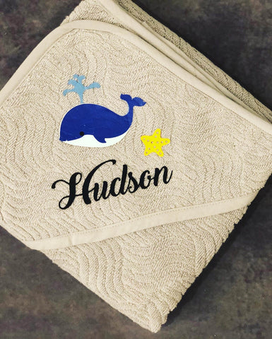 Hooded baby towel personalised