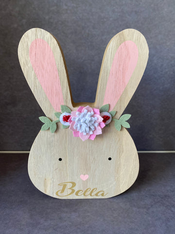 Wooden bunny's personalised