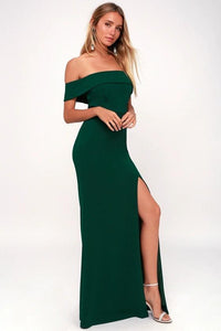 Bridesmaid Dress Flat Off-shoulder Vent High Split Party Dress