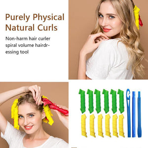 Magic Curlers Long Hair Spiral Curl Formers Leverage Rollers+Hook